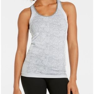 Fabletics oula Gray floral seamless tank top, S